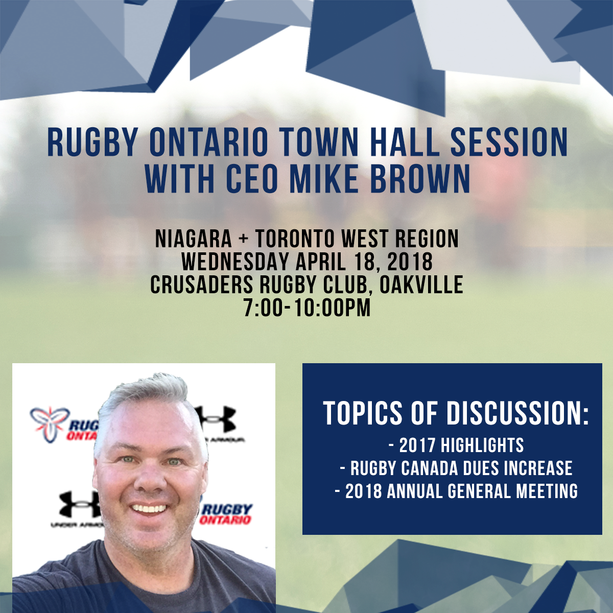 "Rugby Ontario ""Town Hall"" meeting @ Crusaders Clubhouse 